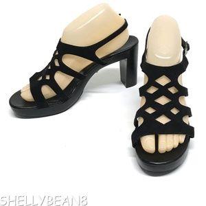 ROBERT CLERGERIE Black Suede PLATFORM Sandals 9